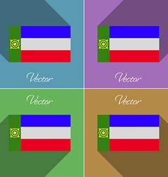 Flags Khakassia Set of colors flat design and long vector image