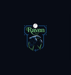 Flying raven in minimalist style vector