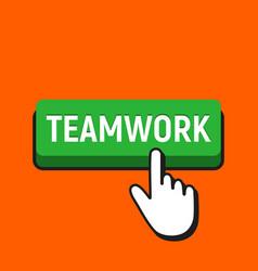 Hand mouse cursor clicks the teamwork button vector