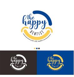 happy dentist logo template design vector image