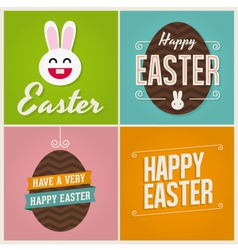 Happy easter cards with easter eggs and bunny vector