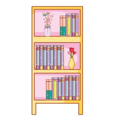 home bookshelf cartoon vector image