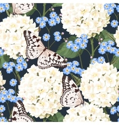 Hydrangea and forget-me-not seamless vector
