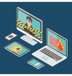 Isometric internet security vector image