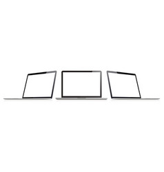 Laptop set in mockup style or isometric notebook vector