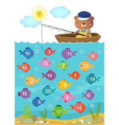 Learn counting number with cute bear vector