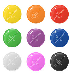 Line style sai weapon icons set 9 colors isolated vector
