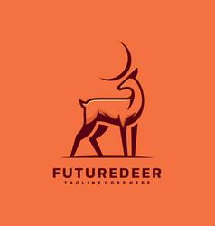 Logo future deer simple mascot style vector