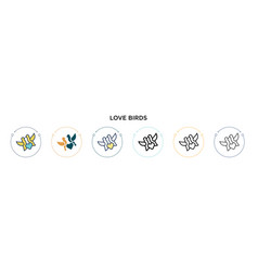 Love birds icon in filled thin line outline and vector