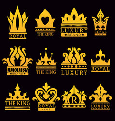 Luxury royal brand emblem with gold crowns set vector
