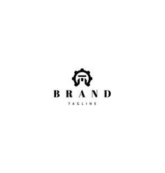 M t letter gear abstract black logo design vector