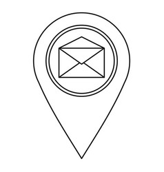 Map pin with envelope sign icon outline style vector