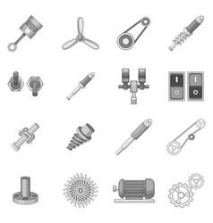 Mechanism parts icons set monochrome vector