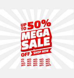 mega sale off banner set collection color red vector image