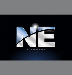 Metal blue alphabet letter ne n e logo company vector