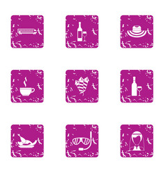 Mexican wedding icons set grunge style vector