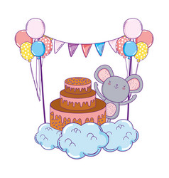 mouse with sweet cake and balloons helium vector image