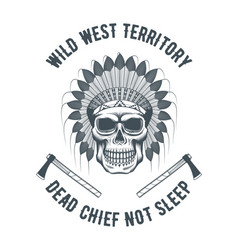 native american chief skull vector image