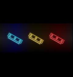 Neon icon set ram set red blue yellow vector