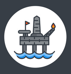 Oil drilling platform icon offshore rig vector