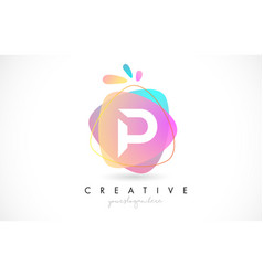 P letter logo design with vibrant colorful splash vector