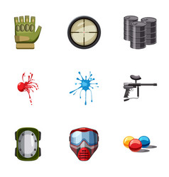 paintball club icons set cartoon style vector image