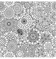 pattern with round mandala style flowers vector image