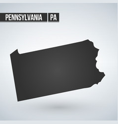 Pennsylvania state map in black on a white vector