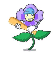 Playing baseball pansy flower character cartoon vector