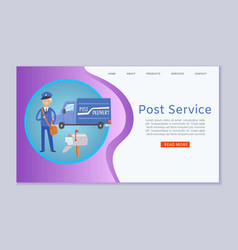 post service letters and parcels delivery web vector image
