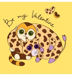 Postcard for Valentines Day with giraffe and vector image