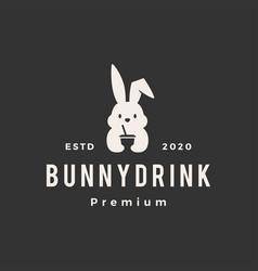 rabbit bunny drink hipster vintage logo icon vector image