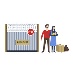 refugees immigration camp man and woman with child vector image