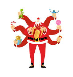 santa claus many hands many gifts for christmas vector image