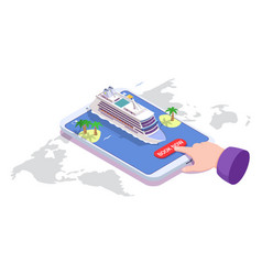 sea cruise online booking isometric vector image