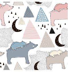 Seamless childish pattern with polar bear mom and vector