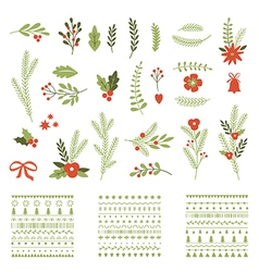 Set christmas graphic elements and ornaments vector