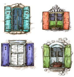 set of vintage windows hand drawn vector image