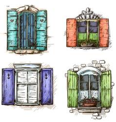 set vintage windows hand drawn vector image