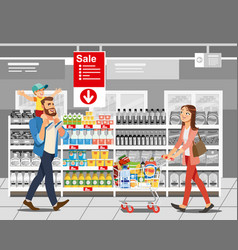 shopping food on sale cartoon concept vector image