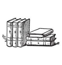 Six books or collections of books vintage vector