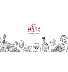 sketch wine drawing drinks grapes bottles vector image
