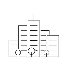 skyscrapers outline icon on white background vector image
