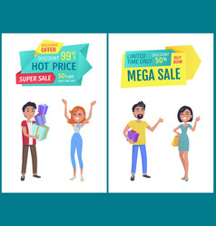 Special offer banner with people shopping vector