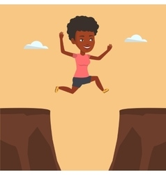 Sportswoman jumping over cliff vector