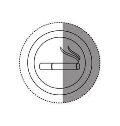 sticker of monochrome silhouette of smoking area vector image