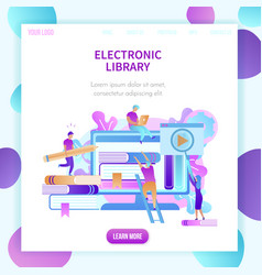 students training by digital books technology vector image