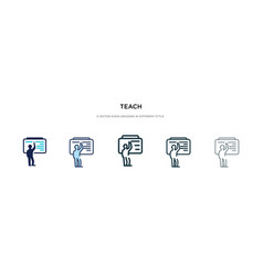Teach icon in different style two colored and vector