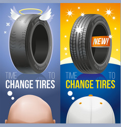 Time to change tires old and new tires vector