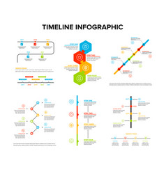 Timeline infographics design set with flat style vector